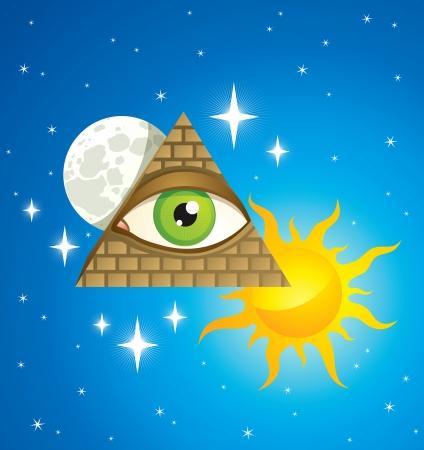 vision nocturna: pir�mide con el ojo, la luna, el sol y las estrellas