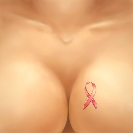 Illustration of the female breast with a tattoo in the form of a pink ribbon illustration