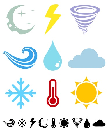 A set of colored icons Weather Vector