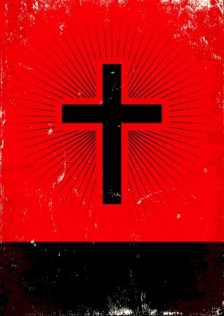 cruz roja: Cartel rojo y negro con la cruz de brillo