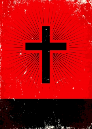 grunge cross: Red and black poster with glow cross