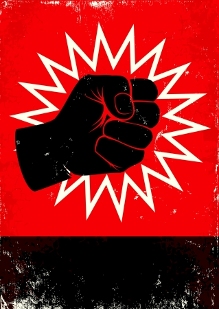 anger abstract: Red and black poster with fist