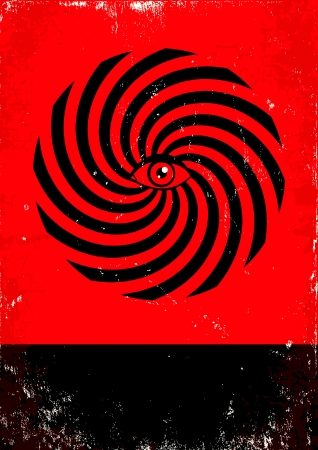 hypnosis: Red and black poster with hypnosis print