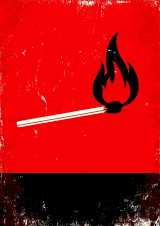 Red and black poster with burning match