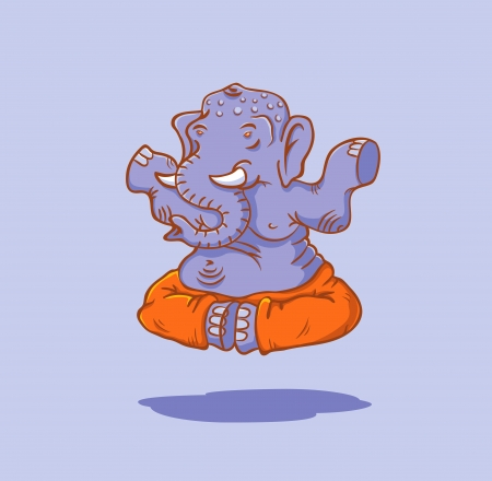 yoga pants: The elephant in the lotus position Illustration