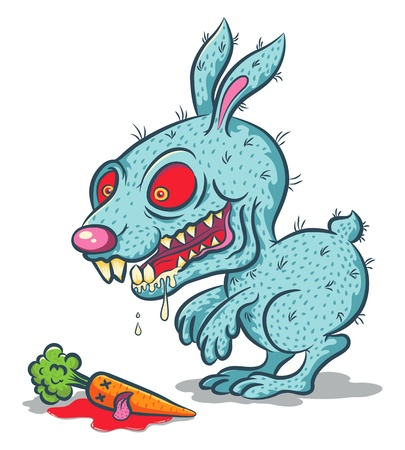 evil eye: Illustration of an evil bunny and carrot