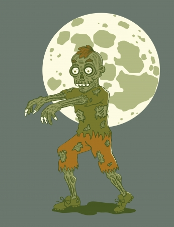 hand torn: Illustration zombies at night by moonlight