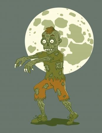 cartoon zombie: Illustration zombies at night by moonlight
