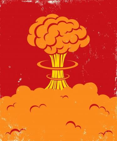 bombe atomique: Illustration d'un souffle puissant du cerveau Illustration