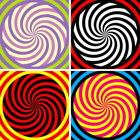 optical illusion: Set of four bright hypnotic Poster