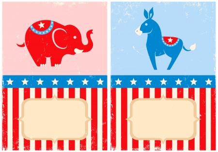 political rally: Simboli di US democratico e partito repubblicano