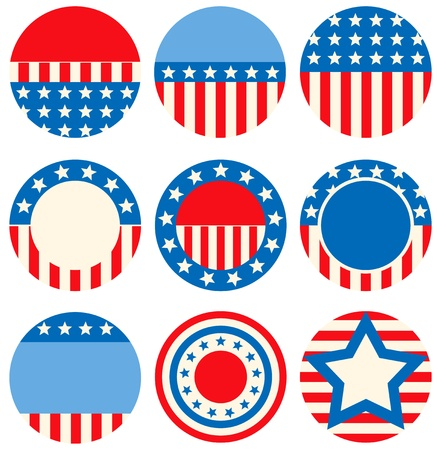 A set of icons with symbols of the USA