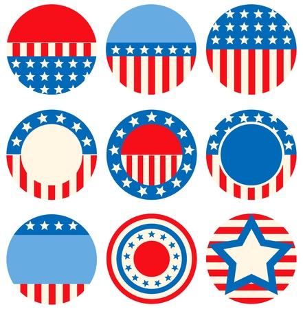 american flags: Un conjunto de iconos con los s�mbolos de los EE.UU. Vectores