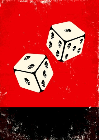 throwing paper: Red and black poster with dice  Illustration