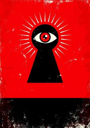 выглядывал: Красный и черный плакат с замочной скважиной и глаз Иллюстрация