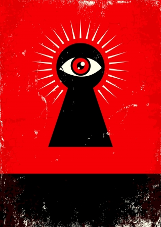 Red and black poster with  keyhole and eye