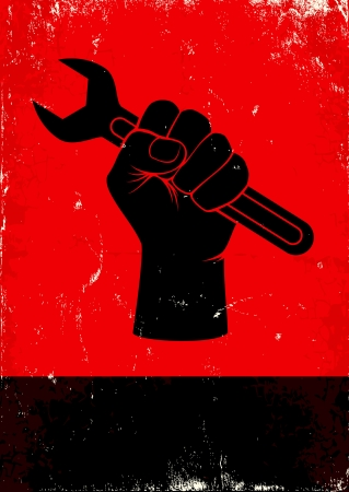 Red and black poster with hand holds a wrench