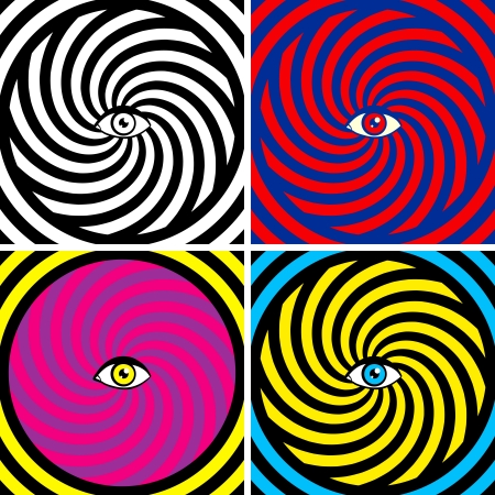 psychedelic background: Set of four bright hypnotic Poster