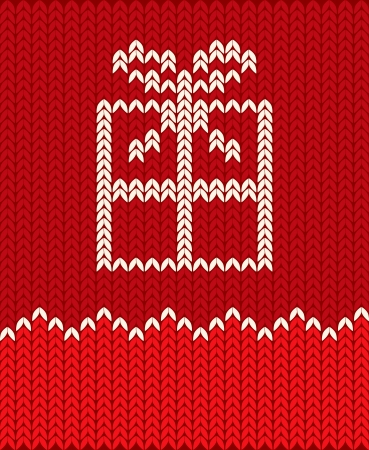 knitted background: Illustration of a gift in the form of a knitted pattern Illustration