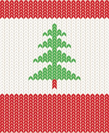 クリスマスの編み物パターンのイラスト  イラスト・ベクター素材