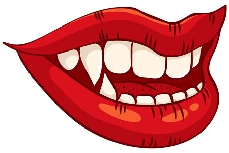 Weiblicher Vampir Lippen mit leuchtend roten Lippenstift Vektorgrafik