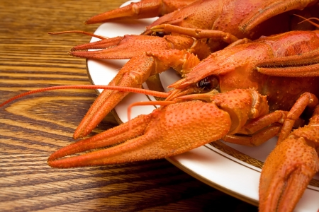 plateful: Red boiled crawfishes on a plate