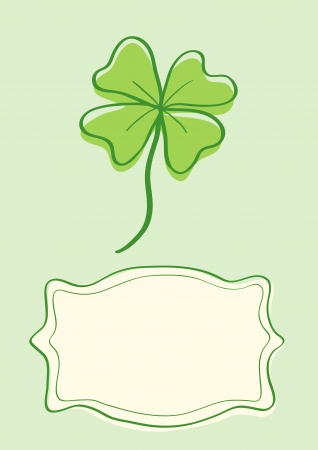 four pattern: Illustration of clover with four leaves in vintage style