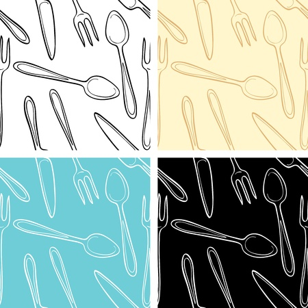 Set of seamless patterns of cutlery Vector