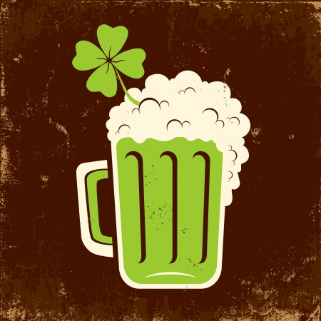 Mug of beer and clover on the feast of St. Patrick Stock Vector - 18311827