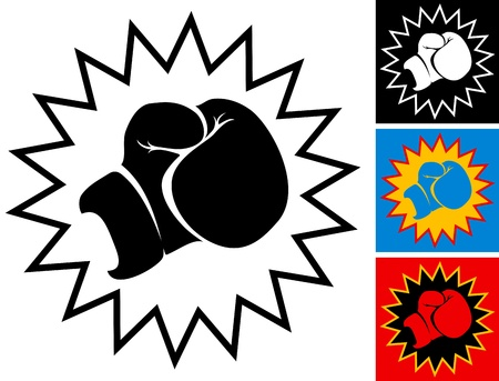 ボクシング グローブでイラスト パンチ  イラスト・ベクター素材