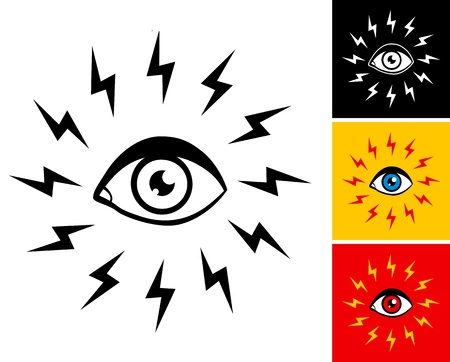 Illustration eyes and lightning Vector