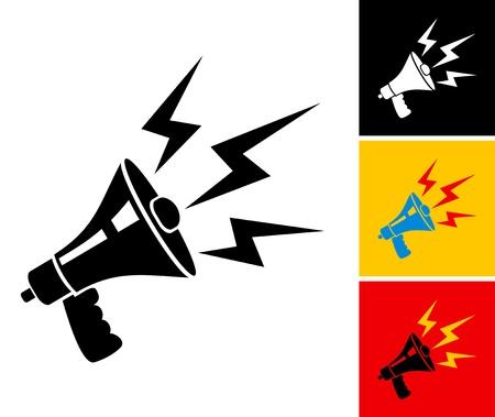 hombre megafono: Establecer la ilustraci�n de meg�fono y rel�mpagos