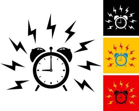 clock icon: illustration of alarm clock ringing Illustration