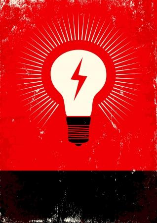 idee gl�hbirne: Rote und schwarze Plakat mit Gl�hlampe und Blitz