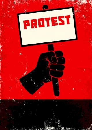 拳とプラカードの赤と黒のポスター
