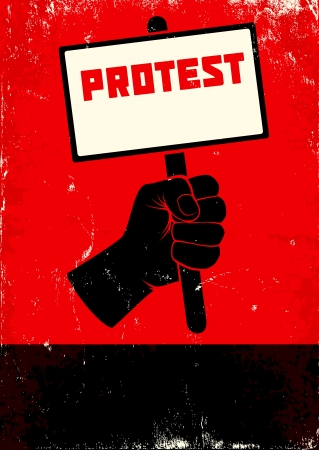 Red and black poster with fist and placard