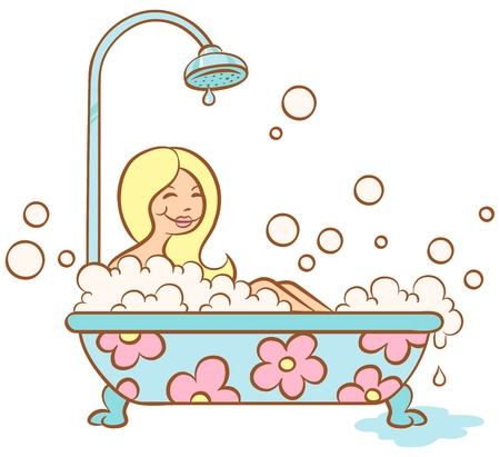 Illustration of a girl lying in bubble bath Illustration