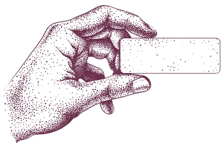 engraved image: Engraving hand holding a business card Illustration