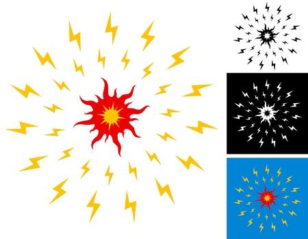 radiacion solar: Ilustración de la luz del sol radiante