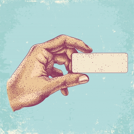 hand illustration: Illustration of hand holding a business card Illustration