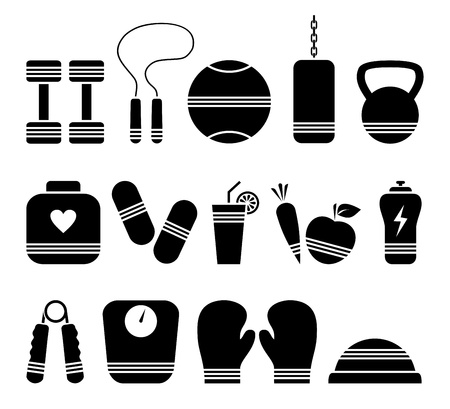Illustration of 14 fitness icons Vector