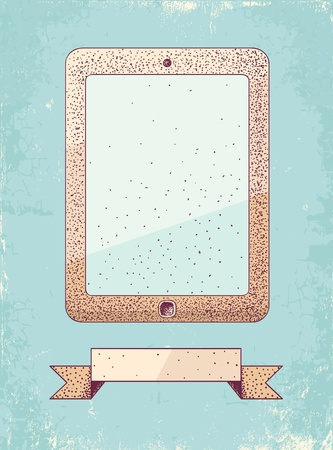 Illustration of tablet in vintage style Stock Vector - 19548785