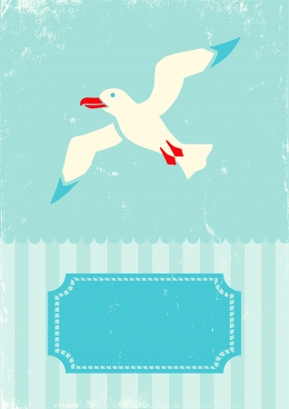 Retro illustration of seagull on turquoise background Vector
