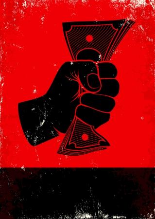 拳とお金と赤と黒のポスター  イラスト・ベクター素材