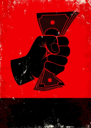 Red and black poster with fist and money Vector