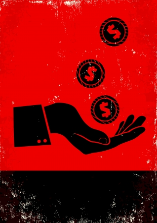 giving money: Red and black poster with hand and coin Illustration