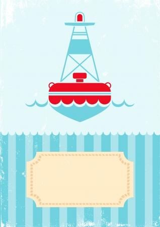 buoy: Retro illustration of buoy on turquoise background