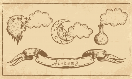 alchemy: Magic alchemical Symbols in old yellow paper
