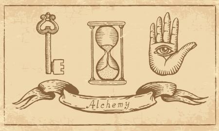 alquimia: Símbolos alquímicos Magia en papel amarillo viejo