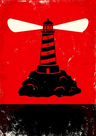 Red and black poster with lighthouse Stock Vector - 21470028